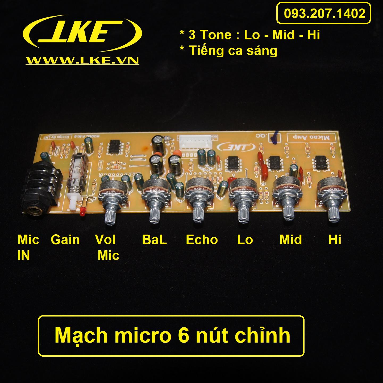 mạch micro 6 nút chỉnh lke