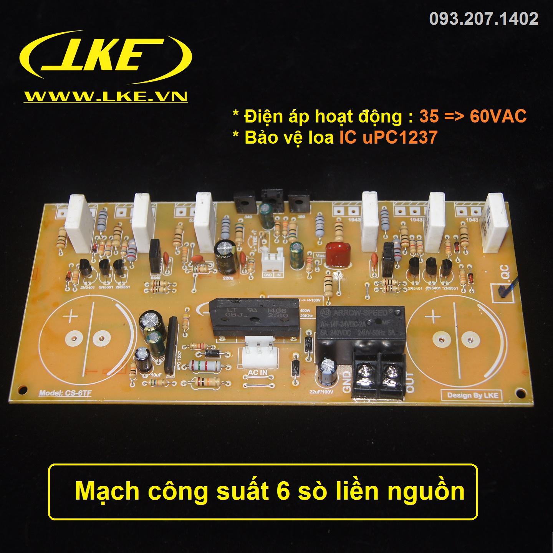 mạch công suất 6 sò liền nguồn LKE 2