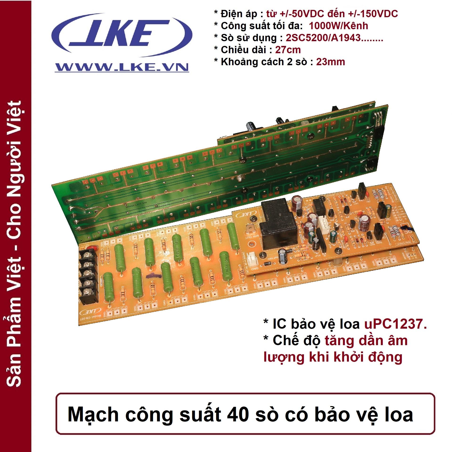 mạch công suất 40 sò có bảo vệ loa 1000w lke