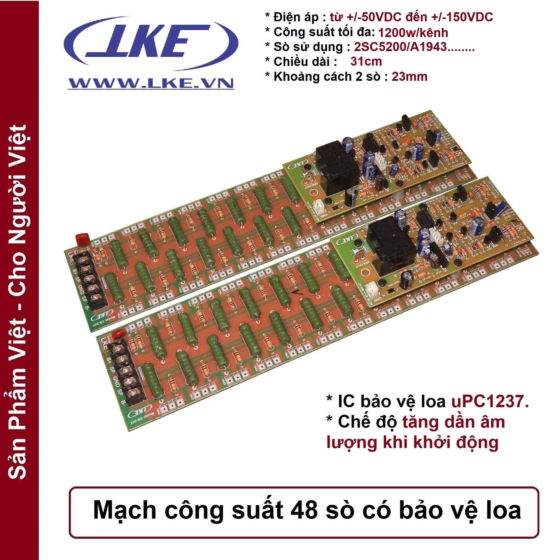 mạch công suất 48 sò có bảo vệ loa 1200w lke